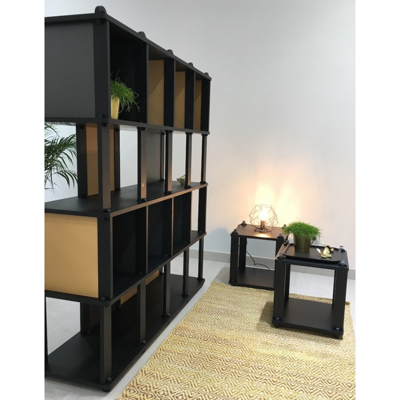 TABU TECA Shelving - modular tower shelving black