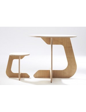 TABLE TABU oak and white