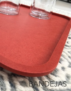 Square red wooden tray - tea or coffee?